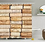 Ambesonne Winery Decor Collection, Different Wine Corks Arranged in a Line Collections French Aged Fine Wine Art, Polyester Fabric Bathroom Shower Curtain Set with Hooks, Ivory Peru