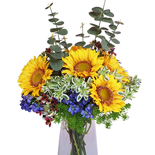 Artificial Flowers Mixed Bouquets - Include Lifelike Big Blooms Fake Sunflowers, Balloon Flowers and other Silk Flowers for Mother's Day, Anniversary, Birthday, Graduation, Wedding Home Decoration