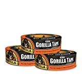 Gorilla Tape, Black Duct Tape, 1.88'' x 35 yd, Black, (Pack of 3)