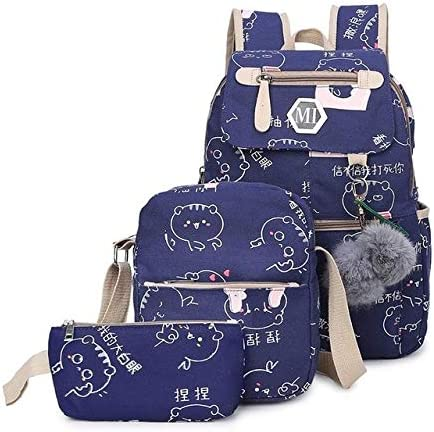 School Bag Schulranzen for Teenager Kinder Cartoon-Muster Kinder Studenten Rucksack Leinwand Teen Umhängetasche Kind Schulranzen (Color : Blue School Bags)