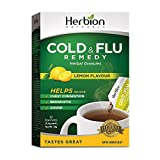 Herbion Naturals Cold & Flu Remedy Herbal Granules with Natural Lemon Flavour, 10 count sachets - Helps Relieve Cough, Chest Congestion, Bronchitis