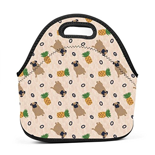 YRBZ Primitive Pug And Pineapple Waterproof Lunch Tote Bag Portable Picnic Lunch Box Food Container