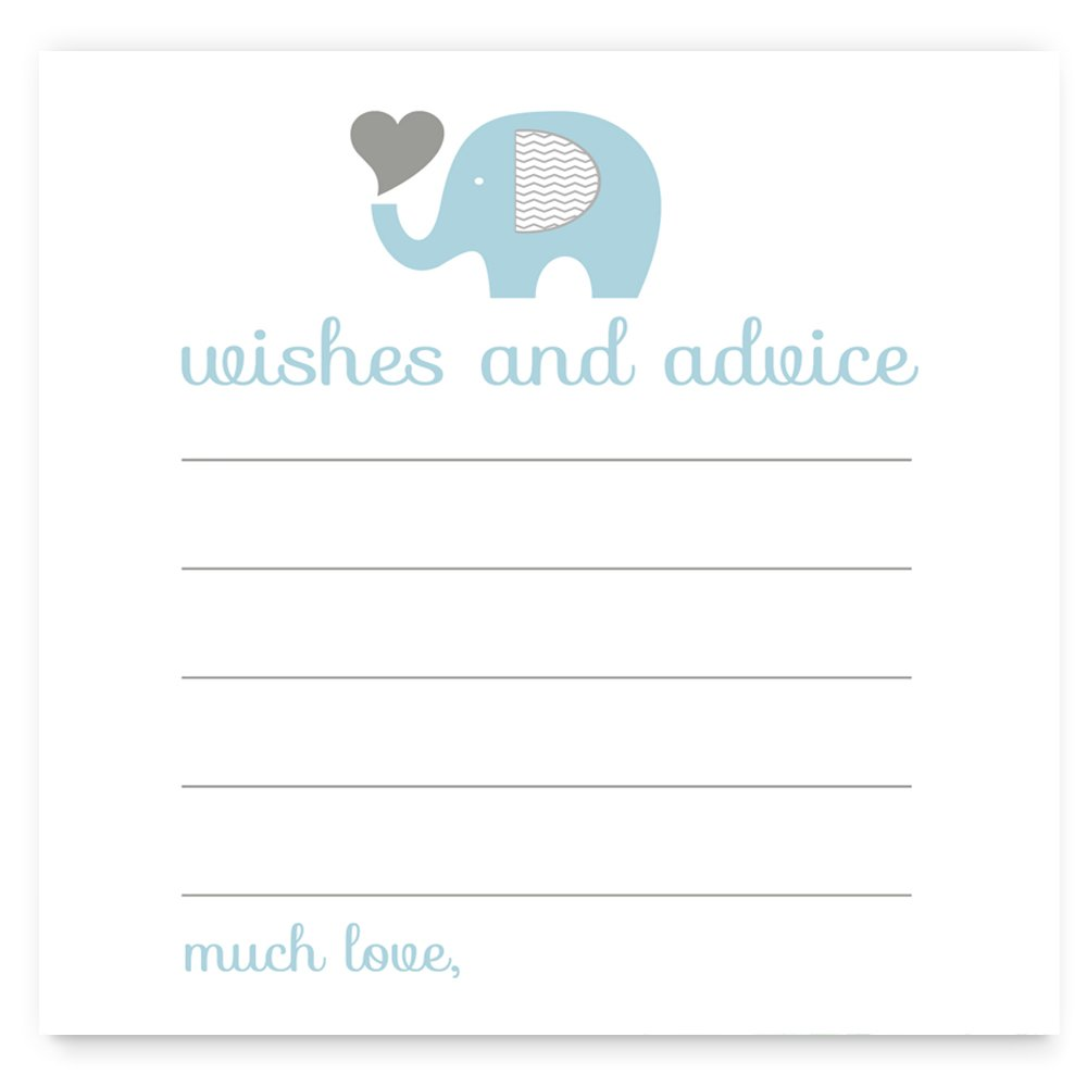 Elephant Advice Cards for Boys Baby Shower Blue and Grey (25 Pack)