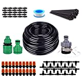 Flantor Garden Irrigation System, Automatic Drip Kit with 50FT Distribution Tubing Hose 20pcs Mist Nozzle for Garden, Lawn, Flower bed and etc.
