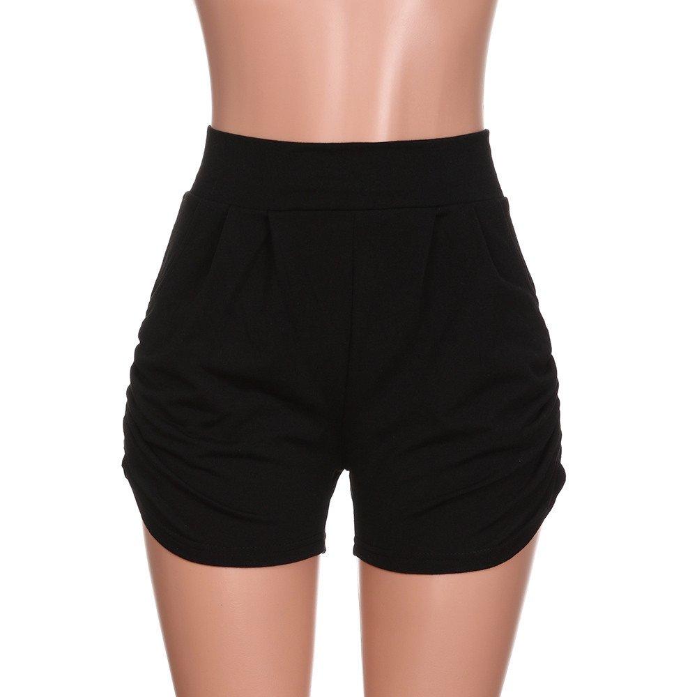 AOJIAN Leggings for Women, Yoga Pants Hot Shorts Solid Trousers Jogger Workout Running Sports Capri Black