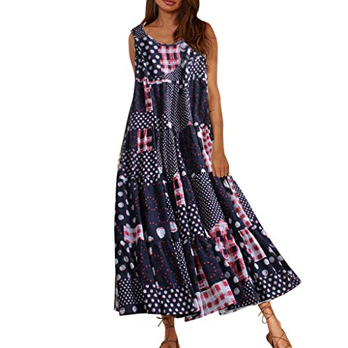 Women Plus Size Vintage Dress Dot Print O Neck Sleeveless Summer Casual Maxi Dress