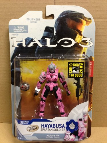 - Halo 3 McFarlane Toys Series 5 (2009 Wave 2) 2009 SDCC San Diego Comic-Con Exclusive Action Figure PINK Hayabusa Spartan Soldier (Shotgun and Radar Jammer)