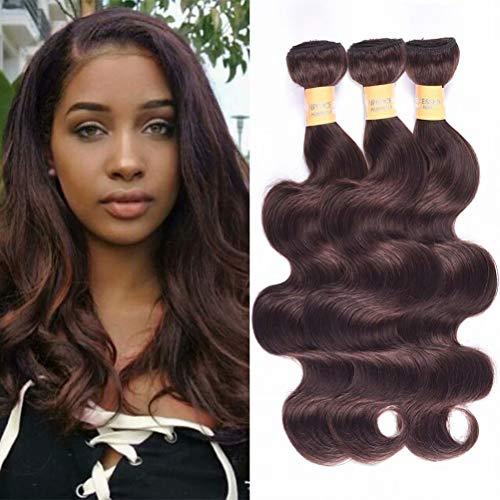 Wome Hair Color #2 Dark Brown Body Wave Human Hair Weave 3 Bundles Peruvian Virgin Remy Hair Wefts Bundles(Mixed Length 16