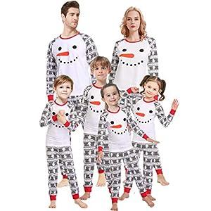 Matching Family Pajamas for Women Christmas Boys Girls Snowman Sleepwear Kids PJs Men 2 Pieces Pants Set 8t
