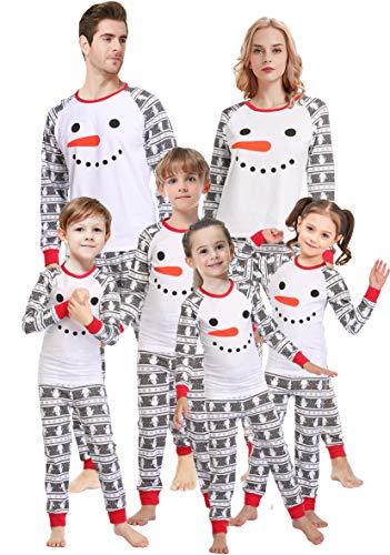 Cheap Kids Christmas Pajamas (Matching Family Pajamas for Women Christmas Boys Girls Snowman Sleepwear Kids PJs Men 2 Pieces Pants Set)