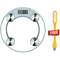 Digital Weight Machine Step-On Technology & LCD Display Round Toughened Glass Weight Capacity Up To 180 kg Free USB LED Light