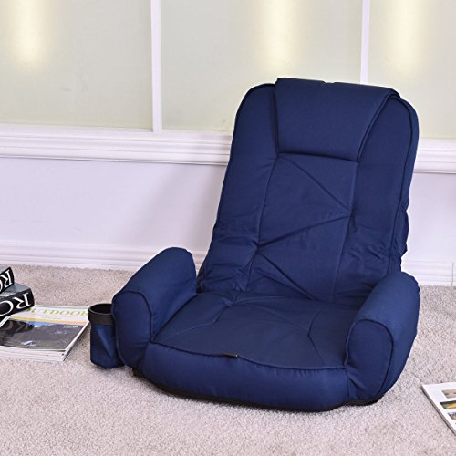 Adjustable Folding Lazy Sofa Floor Chair Lounger Bed Couch Cup Holder Blue (Cup Mocca)