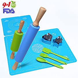 YOUNGLAMP Combo Kit of Large and Small Silicone Dough Rollers, 2 Reusable Kneading Mats with Measurements, 2 Stainless Steel Cookie Cutters and 3 Brushes for Baking 5 PRICE FOR ALMOST 2 SETS! Have fun with your little ones when you do baking! Our set enable you to tackle baking jobs when your kid joins together. You can prepare your jobs normally on your mat when you teach them on the other's. Imagine how excited when they see their own harvest comes out! This combo set also comes with 2 100% food-grade silicone pastry mats,a spatula,a brush a spoon and two handy cookie cutters. The flexible, BPA-free kneading mat with measurements is high-heat resistant, lays flat on any surface, prevents dough from sticking, and keeps your counters clean. The star- and heart-shaped cookie cutters are enhanced with pushers to create perfect cuts every time.