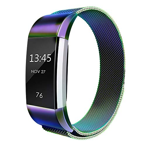 Simpeak Compatible for Fit bit Charge 2 Bans, Stainless Steel Replacement Metal Band Strap with Closure Clasp for Fit bit Charge 2 Fitness, Women - Mesh Shiny Band Silver
