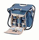 Picnic & Beyond Folding Seat with Coffee Service for 2 in Blue