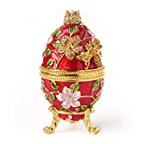 Hand- Painted Vintage Style Bee and Flowers Faberge Egg with Rich Enamel and Sparkling Rhinestones Jewelry Trinket Box (Red)