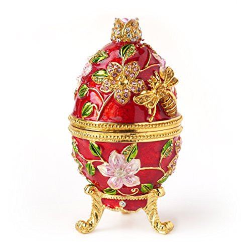(Apropos Hand- Painted Vintage Style Bee and Flowers Faberge Egg with Rich Enamel and Sparkling Rhinestones Jewelry Trinket Box)