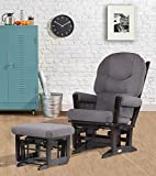 Dutailier Modern Glider Multiposition Recline and Ottoman Set, Espresso and Dark Grey