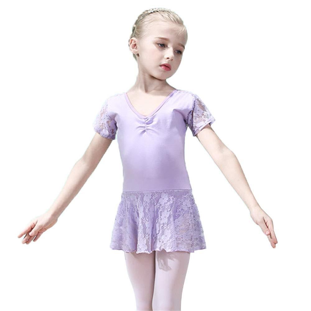 Purple 110 Girls Tutu Dancing Dress Little Short Sleeves Floral Lace