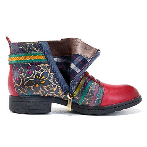 Socofy Boots Stiefel Klassische Damen Blume Stiefel Komfort Boot Handmade ANIT Kurzschaft Lederschuhe Kurz Rutsch Ankle AXAxr