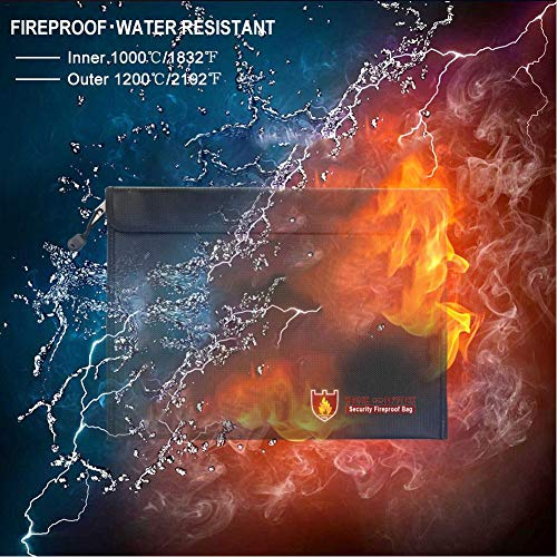 US-PopTrading Fireproof Document Bag, High Temperature Double Sided Fireproof Safe Storage Pouch File Bag,Water Dust Resistant Pouch Zipper Organizer Case for Money,Passport,Jewelry Black by US-PopTrading (Image #2)