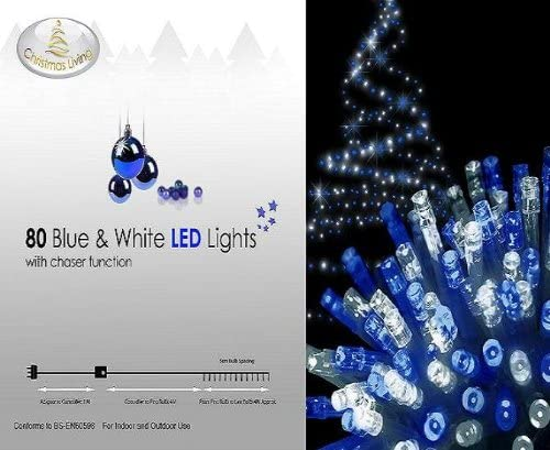 80 Blue Led Christmas Lights With Clear Cable Amazon Co Uk Lighting