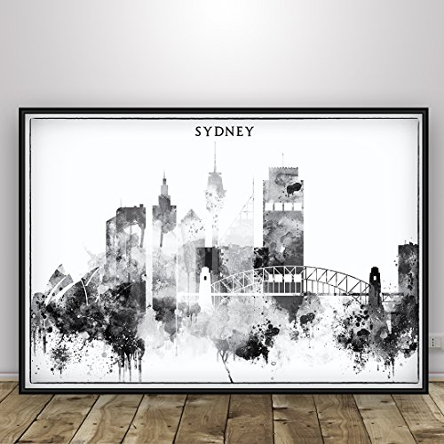 Amazon.com: Sydney Poster, Black and White Home Decor, Australia ...