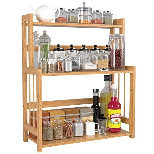 HOMECHO Bamboo Spice Rack Bottle Jars Holder Countertop Storage Organizer Free Standing with 3-Tier Adjustable Slim Shelf for Kitchen Bathroom Bedroom HMC-BA-004