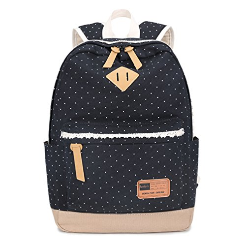 ZhiYuanAN Wave Point Canvas Bolso De Hombro Bolsos De Moda Lovely Estudiante Mochila Negro