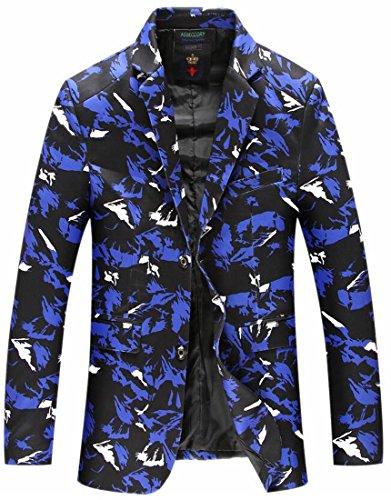 HTOOHTOOH Men's Classic Lapel Camo Two Button Coat Blazer Suit Jacket Blue S
