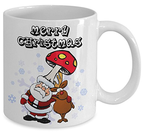 Merry Christmas coffee tea mug - Mushroom ceramic cup - Santa clause Amanita muscaria and reindeer