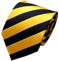Secdtie Men Classic Striped Black Glod Jacquard Woven Silk Tie Formal Necktie