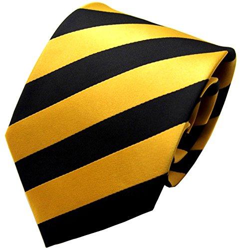 Secdtie Men Classic Striped Black Glod Jacquard Woven Silk Tie Formal (Yellow Stripe Tie)