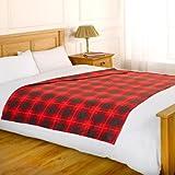 Dreamscene Check Fleece Blanket, Red, 120 x 150 Cm