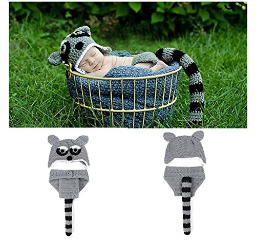 primerry Baby Infant Photography Studio Knitting Costumes Suit(Raccoons -