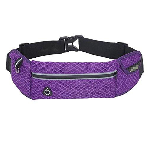 Deporte Ocasionales Resistentes Riñonera Unisex Práctica Portátil De Gran Capacidad De Agua Bolsa Del Teléfono Móvil Purple