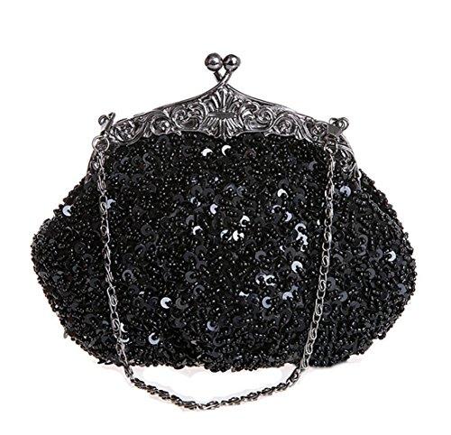 Whoinshop da donna in metallo, con perline e lustrini Evening Clutch Bag Nero (nero)