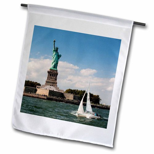 3dRose fl_203177_1 Sailboat Sailing By Lady Liberty Garden Flag, 12 by 18