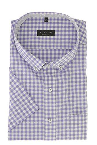 ETERNA Herren Kurzarm Hemd aus 100% Baumwolle Comfort Fit mit Button Down Kragen leicht tailliert geschnitten Gr. 50 Flieder kariert