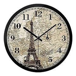 Hotel Lobby Front Desk World Name Time Zone European Wall Clock Mute Modern Minimalist Quartz Clock (Color : B, Size : 35.5cm)