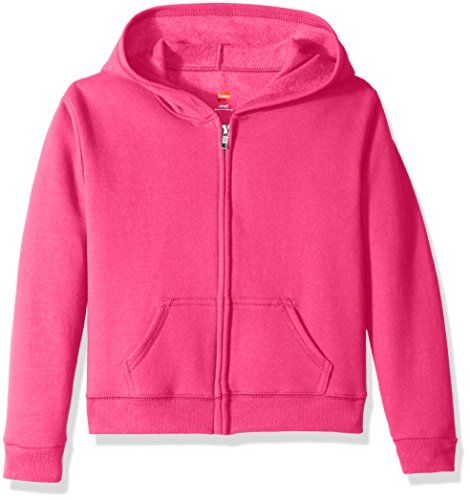Hanes Big Girls' Comfortsoft Ecosmart Full-Zip Fleece Hoodie, Amaranth, ()