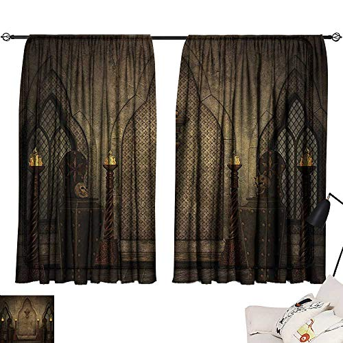 (Warm Family Waterproof Window Curtain Gothic,Fantasy Scene with Old Fashioned Wooden Torch and Skull Candlesticks in Dark Spooky Room,Brown 54