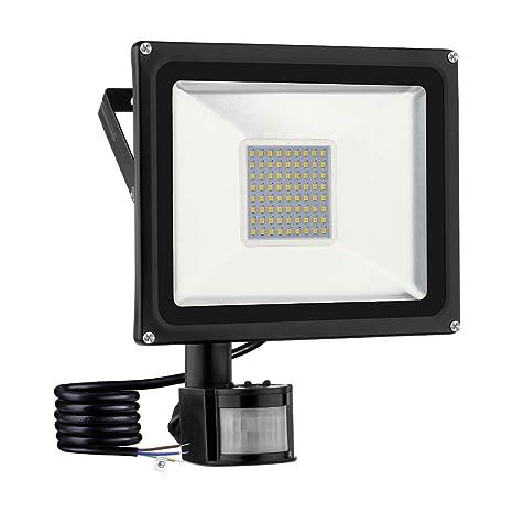 viugreum Foco con detector de movimiento, led foco iluminación exterior, IP65 impermeable Exterior para