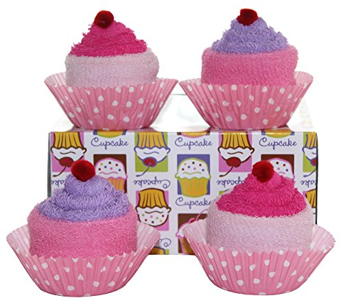 Newborn Cupcakes / Girl's Baby Cupcakes 4 pack / Baby Girl Gift Set / Newborn Wash Cloths and Socks / Baby Shower Gift