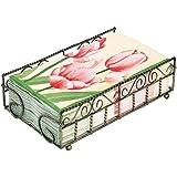 Boston International Guest Towel Caddy, Garden Gate Design in Antique Brass