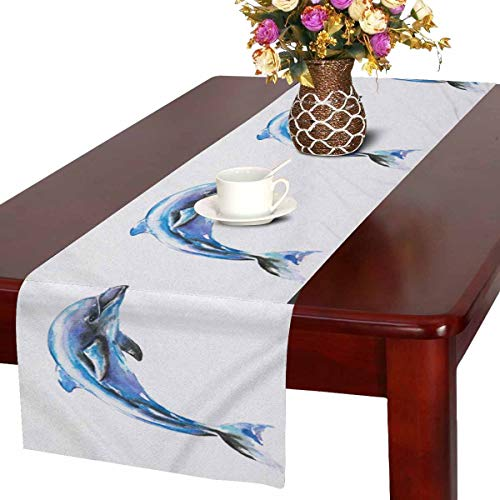 InterestPrint Watercolor Jumping Blue Dolphin Sea Life Table Runner Linen & Cotton Cloth Placemat Home Decor for Wedding Banquet Decoration 16 x 72 Inches