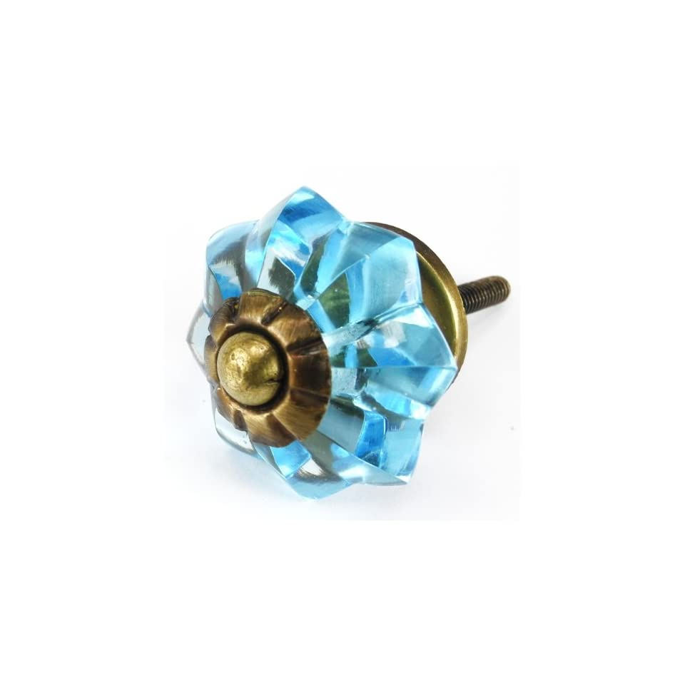 Sky Blue Glass Cabinet Knobs, Kitchen Drawer Pulls & Handles Set/10pc ~ K177RL Brilliant Sky Blue Glass Melon Knobs with Antique Brass Hardware for Dresser, Kitchen Cabinets and Cupboards