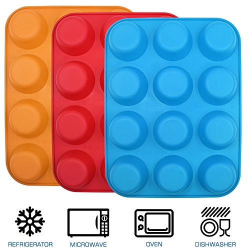 12-Cup Silicone Muffin & Cupcake Baking Pan, YuCool 3 Pack Silicone Molds for Muffin Tins, Cakes, Non-stick Mould (Orange, Red, Blue) by YuCool (Image #1)