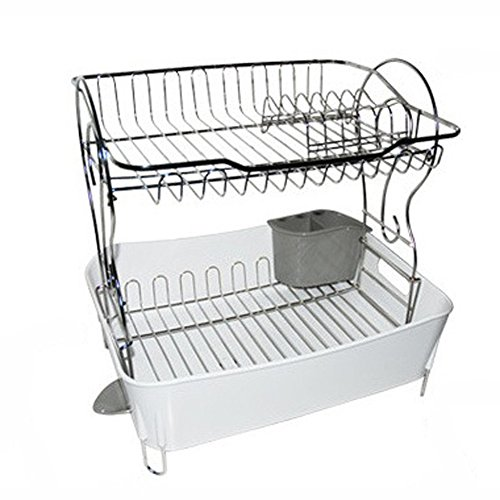 INEX Sink Dish Drying Rack Two Tier Shelf Liner Dish Holder