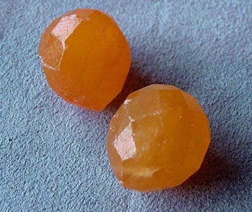 Jade Faceted Briolette Beads - 2 Honey Jade Faceted Briolette Beads for Jewerly Making 4549